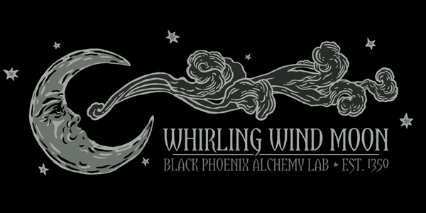 Label and silkscreen tee design for Black Phoenix Alchemy Lab